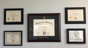 Diplomas at Phoenix sedation dentist